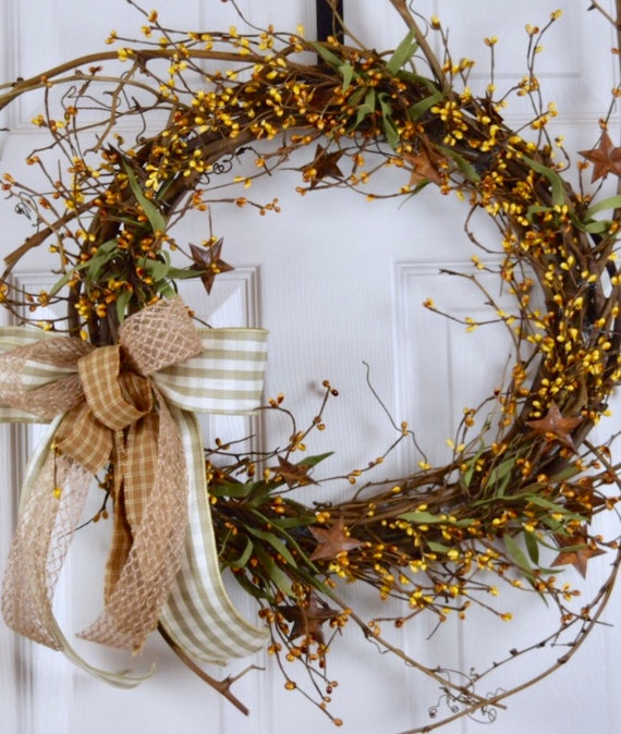 Mustard Pip Berry Sunburst Twig Wreath with Rusty Tin Stars; Primitive Country Door Decor Wreath; Rustic Grapevine Wreath with Tin Stars