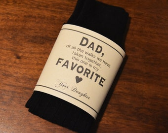 Father of the Bride Dress Socks with Personalized Gift Label | Dad | Gift from Bride | Custom | Mens Dress Socks | Black Wedding Socks