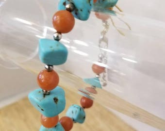 Turquoise and red aventurine bracelet