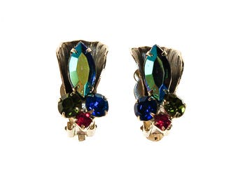 Colorful Rhinestone Earrings, Clip On, Blue Aurora Borealis, Green, Pink, Rhinestones, 1950s, 1960s Era