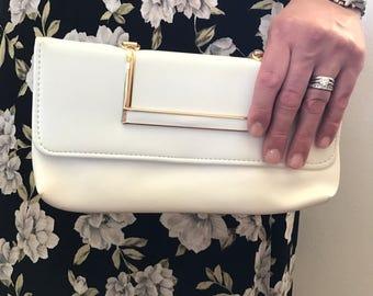 Vintage White Clutch, White Purse, White Clutch, Evening Bag, Purse, Vintage Clutch, Vintage Purse, Vintage Bag, Clutch, Bag, White Gold