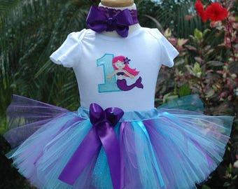 Mermaid  Birthday Outfit, 1st birthday mermaid girls outfit, first birthday mermaid tutu outfit, girls one year old birthday girl outfit,