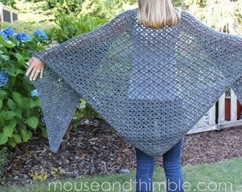 Crochet PATTERN / Smoky Mountain Shawl / 5 sizes (Small to XXL) / PDF 5228