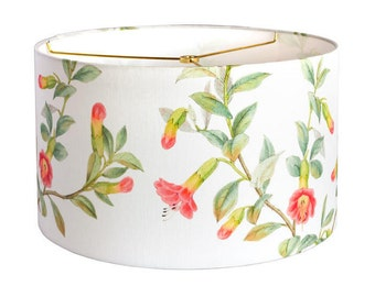 15 Inch  - READY TO SHIP - Summer Cottage Vine Linen Lamp Shade - Yellow Coral Aqua Green Flower Lampshade - Sample Sale - Quick Ship