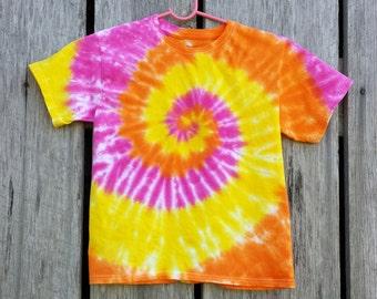 Women's Plus Size Orange Yellow and Pink Tie Dye Shirt, 2XL 3XL 4XL 5XL 6XL, Adult Tie Dye Top, Ladies Tie Dye Tee