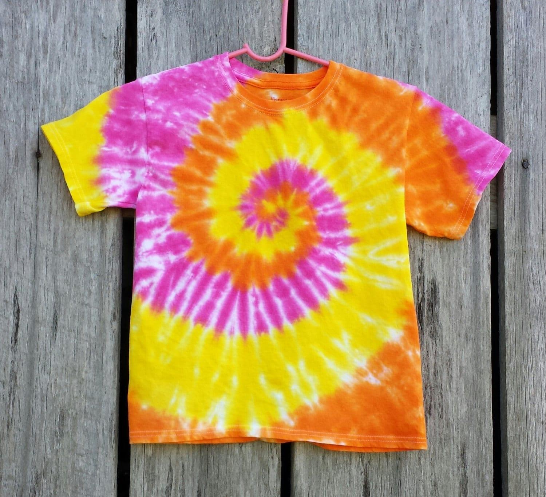 Well-liked Girls Tie Dye T-Shirt S M L XL Short Sleeve Tshirt Orange AQ08