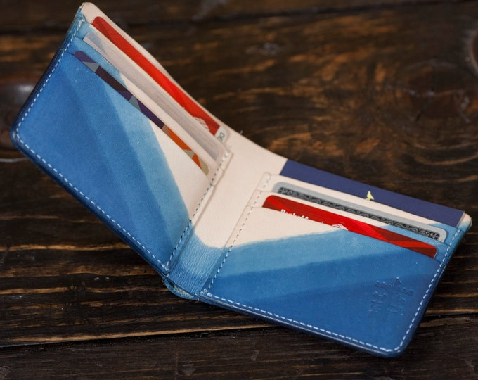 Indigo Dyed Natural Vegetable Tanned Leather Bifold Wallet with Unique 3 Layer Dip Pattern