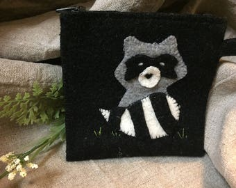 Cute wool racoon coin purse or credit card wallet.
