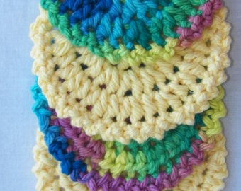 Color Scheme - Set of 4 - 100% Crochet Cotton Coasters - Facial Scrubbies - Drink Coasters Set - Facial Scrub Pads