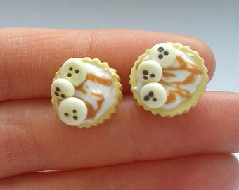 Polymer clay banoffee pie earrings