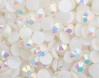 White AB Resin Jelly Flatback Rhinestones 5mm Nail Art (Craft Supplies & Tools)
