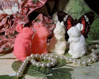 4 Beeswax Little Bunny Rabbit Candles