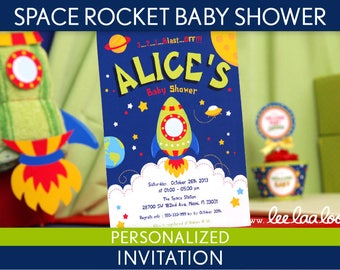Space Rocket Baby Shower Invitation Personalized Printable // Space Rocket - S22Pa2