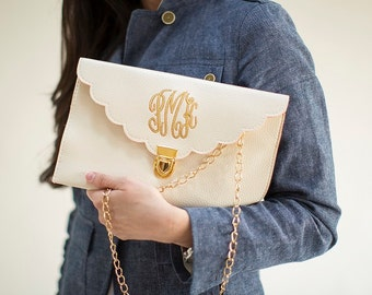 Cream Scalloped Monogram Clutch Purse!!