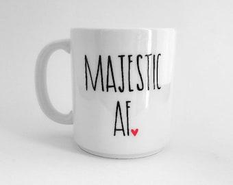Majestueuze AF mok | Grote mok | Upcycled mok | Grappige mok | Citeer mok | Cadeau idee | Keramische koffie thee mok | Majestueuze Gift | Gift van de verjaardag