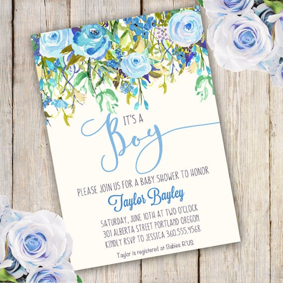 Whimsical Boy Baby Shower Invitation Boy Baby Shower Invite