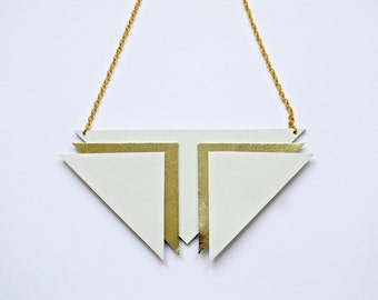 White and gold real leather statement geometric necklace.