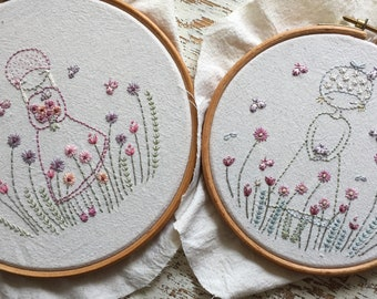 Butterfly girl embroidery pattern PDF