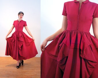 1940s Ballgown S, 40s Fuchsia Ball Gown, Dramatic Long 1940s Evening Dress, Heavy Faille Dark Pink Party Dress Full Sweep Hip Swag, Small