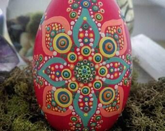 Mandala wooden egg