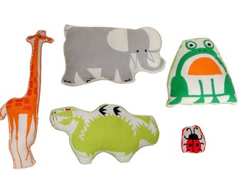 Assorted shapes animal pillows