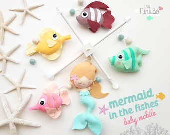 Mermaid Baby Mobile - Cot Mobile - Crib Mobile - Sea Creatures Mobile - Ocean Mobile - Fish Mobile