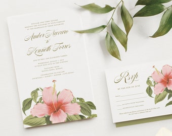 HIBISCUS Wedding Invitation Tropical Greenery | Beach Invites | Maui Hawaii Bali Destination Wedding Invitations | Pink Hawaiian Flowers