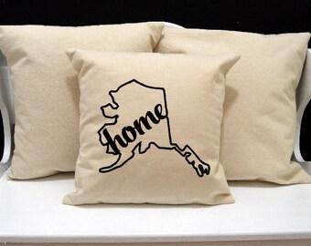 Alaska Home Pillow, Alaska Pillow, home pillow, pillow gift, Alaska gift, Envelope Pillow Cover, state pillow, AK pillow, 20x20 16x16 pillow