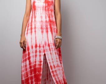 Split dress,Red and white dress, Spaghetti strap dress, Tie Dye Dress, Summer Dress, Shibori Dress, festival dress, boho dress, Red dress