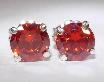 Orange Cubic Zirconia Stud Earrings|6mm Orange CZ Studs|Orange CZ Earrings|Silver Orange CZ Studs|Orange Cubic Zirconia Silver Jewellery
