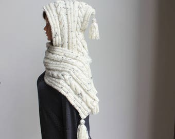 Hooded scarf - scarf - knit scarf - hoodie with scarf - hood pixie - hooded cable scarf - scoodie