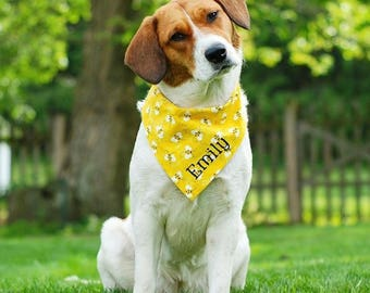 Personalized Pet Bandana | Reversible Bumble Bees Yellow with Orange Polka Dots | The Best Custom Puppy Gift by Three Spoiled Dogs