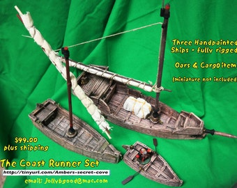 The Coast Runner Set: Three hand painted ships, fully rigged. 28mm scale.