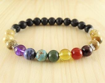 Mens Chakra bracelets - 7 Chakra bracelet - Mens Mala Bracelets - Mens Chakra jewelry - Mens Yoga bracelets - Mens Yoga Jewelry - Meditation