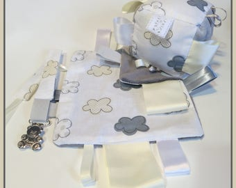 Baby gift box. Assortment, educational Cube, blanket and pacifier clip