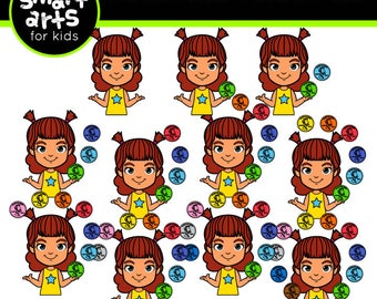 Counting Penny Kid Clip Art- Cartoon - digital graphics - instant download - SVG - Vector - png clipart - counting - penny coin