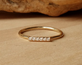 Diamond Bar Ring - Horizontal