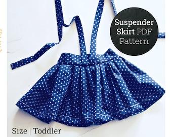 18M 2T 3T Easy Suspender Skirt Sewing Pattern PDF Digital Download for Toddler Girls | Vintage High Waist Skirt Dress Beginner Project