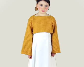 Fómhar: Cropped Sweater Knitting Pattern.  14 sizes ranging from child to adult.