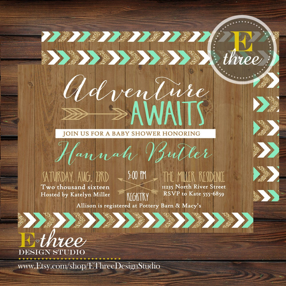 Mint and Gold Adventure Awaits Shower Invitations Tribal