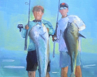 Fishermen Art Print on Canvas, Giclee Print on Canvas, Deep Sea Fishing, free shipping, choose your size, ready to hang, no frame needed