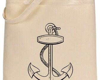 Anchor- cotton tote bag - Book bag, Shopping bag Reusable and Washable - Eco Friendly