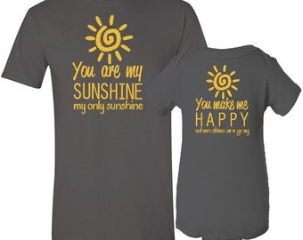 You Are My Sunshine Mother T-Shirt Son / Daughter Bodysuit Matching Set First Mother's Day Baby Shower Gift Idea - Charcoal Gray / Yellow