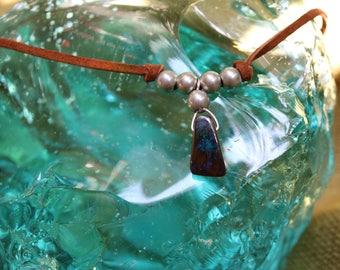 Australian Boulder Opal Leather Necklace