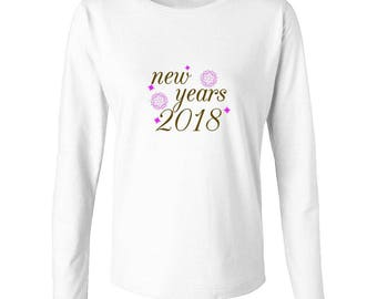 New Years 2018 Pattern Spheres Graphic Women's Long Sleeve