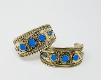 Free Shipping Beautiful 2 pcs Afghan kuchi Turquoise Bracelets , gypsy Ethnic jewel/Afghan jewelry , Gypsy style jewelry Boho style