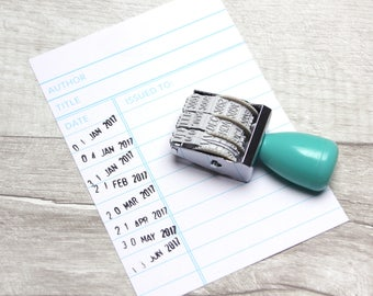 Library Date Stamp / Mint Green Roller Vintage Stamp / Pastel Kawaii Book Stationery Literary Library Gift