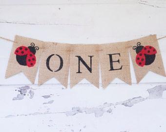 Ladybug Banner, Ladybug 1st Birthday Banner, Garden One Banner, Ladybug Burlap Banner, Ladybug Party, Girl Ladybug Banner, B314