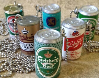 """SALE Vintage Beer Can Necklace - Low Brow Drinking Class Punk Skinhead Novelty Jewelry 30"""" Ball Chain"""