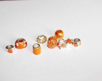 Set of 8 assorted beads - orange